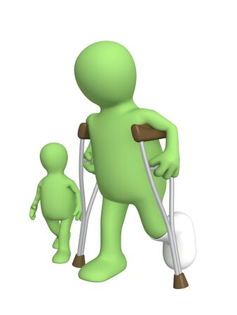 Child and the adult - invalid on walk Stock Photo - 5115866