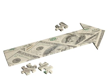 hither: Arrow, made of pieces of puzzles of dollars