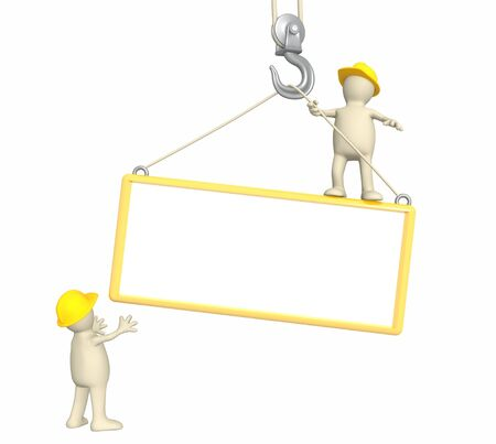 Builders - puppets, lowering a frame on a hook photo