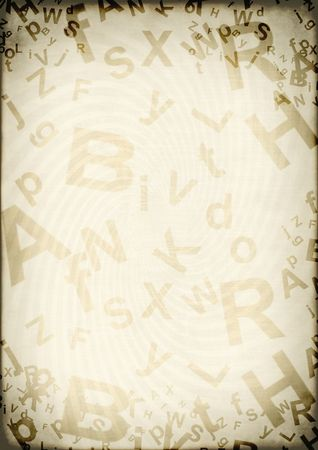 Grunge background with letters of the English alphabet photo
