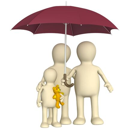 Happy family with umbrella - over white photo
