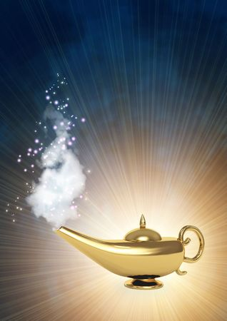 Symbol performance of desires - magic lamp photo