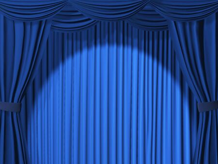 stage projector: Theatrical curtain of blue color - 3d Stock Photo