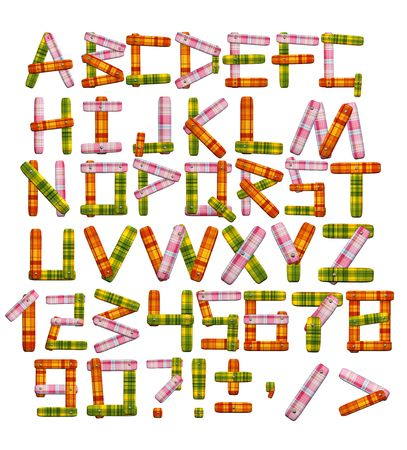 Alphabet - letters from a bright motley fabric Stock Photo - 5191283