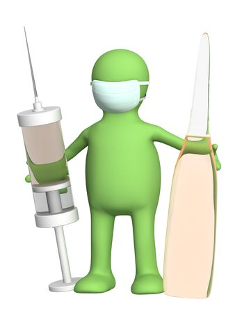 ampoule: 3d doctor with a ampoule and a syringe Stock Photo