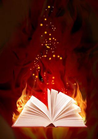 heart burn: Set - books of four elements. Book of magic fire  Stock Photo