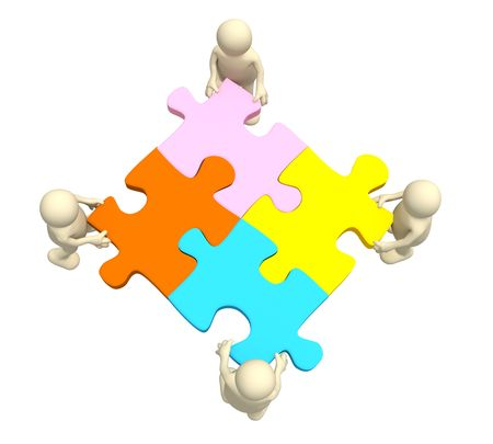 teammate: Four puppets, holding in hands a puzzle of multi color
