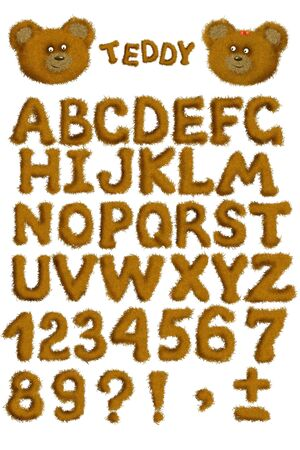 Teddy alphabet - fluffy letters of brown color Stock Photo - 5240603