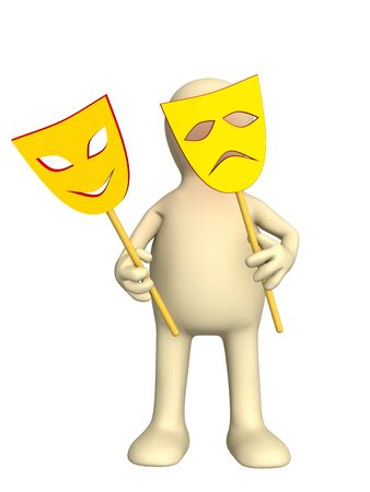 3d puppet with two yellow masks in hands photo