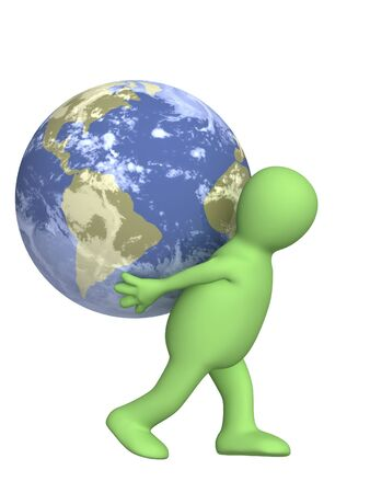 Puppet, carrying the Earth - over white photo