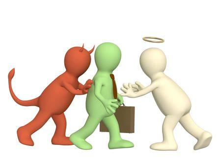 dudando: Imagen conceptual - una oposici�n de �ngel y demonio