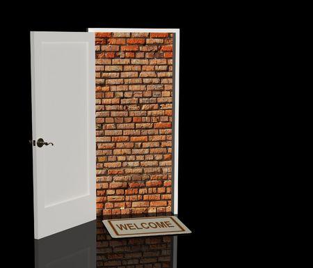 Conceptual image - brick wall in a doorway photo