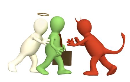 Conceptual image - an opposition of angel and devil Stock Photo - 5332623