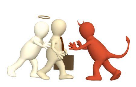 hesitating: Imagen conceptual - un �ngel de la oposici�n y diablo