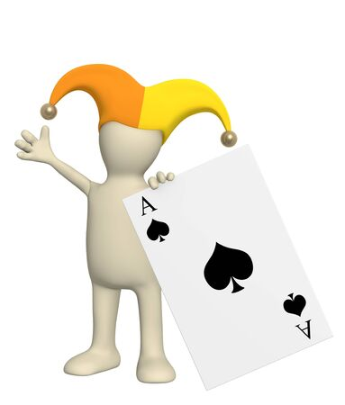 game show: 3d joker, holding in a hand of a black ace
