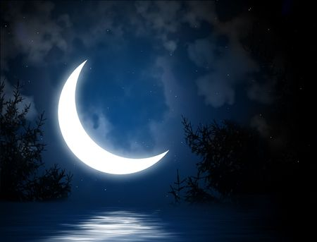crescent moon: Night fairy tale - bright moon reflected in river Stock Photo