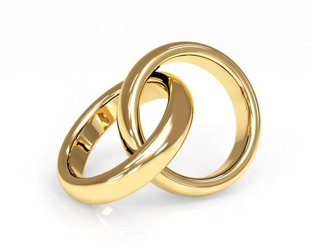 gold rings: Two 3d gold wedding ring. Objects over white
