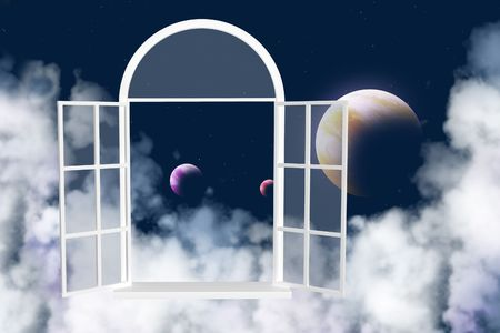 the silence of the world: Collage - window in other galaxy Stock Photo