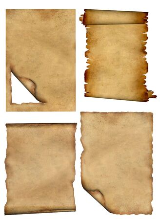 Set - a pieces of old, fragmentary parchments photo