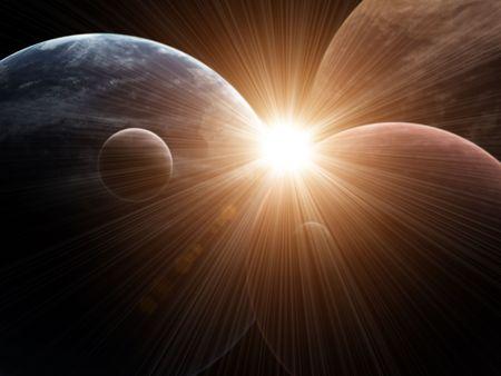 interplanetary: Illustration - a fantastic beautiful flare
