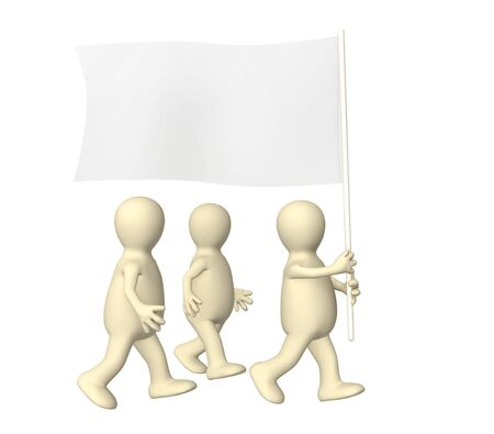 petition: Group of the puppets, going with a flag Stock Photo