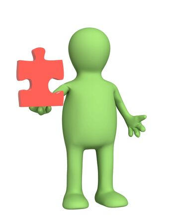 3d puppet, holding part of puzzle photo
