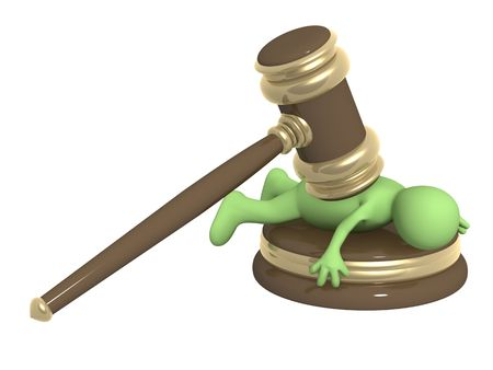 legally: 3d person - puppet, pressed down by hammer Stock Photo