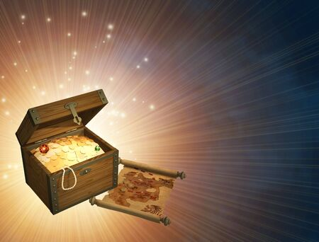Wooden box with treasures and pirate map photo