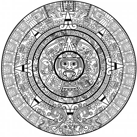 Maya calendar illustration - over white Stock Photo