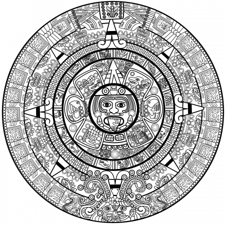 mayan culture: Maya calendar illustration - over white Stock Photo