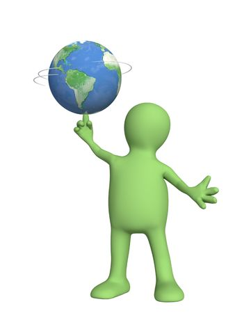 3d puppet, holding Earth - over white photo