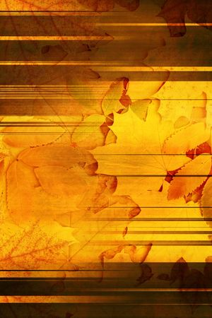 Vertical grunge background with autumn leaves photo