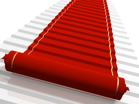 Conceptual 3d image - red carpet  Stock Photo - 5603328