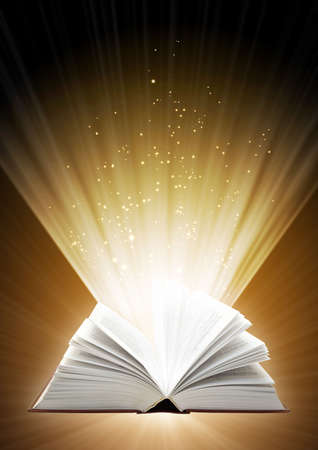 Vertical background of brown color with magic book Stock Photo - 5603357