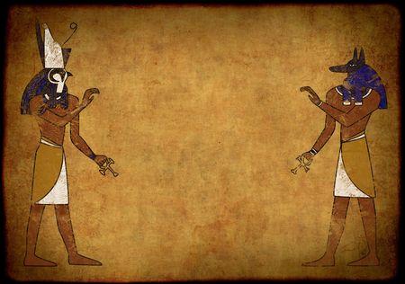 Background with Egyptian gods images - Anubis and Horus Stock Photo - 5603339