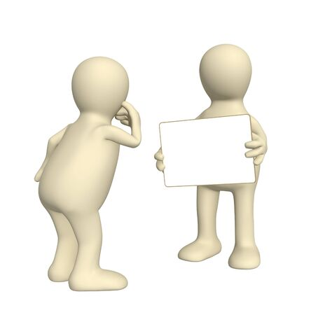 petition: 3d puppet with information board Stock Photo