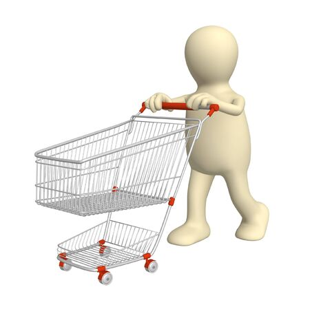 3d puppet, going for purchases - over white Stock Photo - 5659093