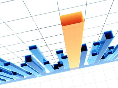 time sharing: Blue 3d diagram, showing positive results