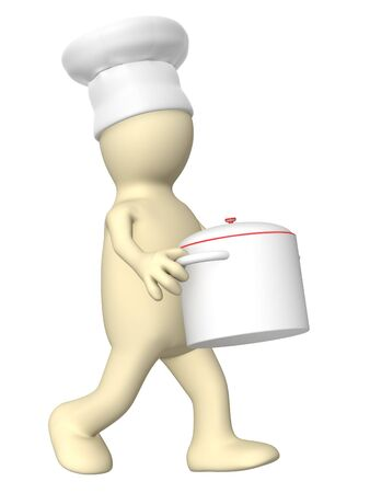 caterer: 3d puppet - chief, carrying pan