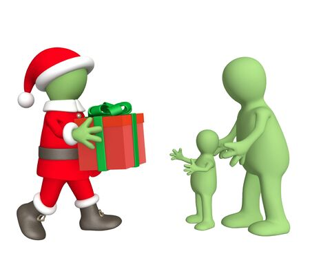 Santa Claus, a giving gift to the child photo