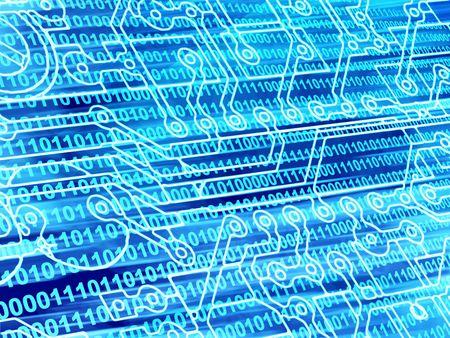 data transmission: Blue background with Internet symbols
