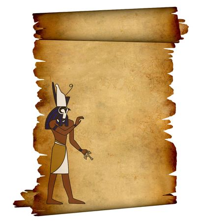 Scroll with Egyptian god Horus image. Object over white photo