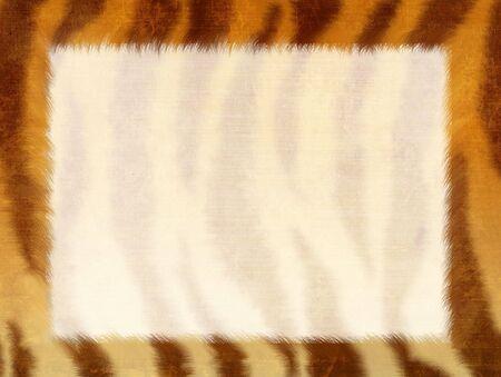 Grunge frame - striped fur of a tiger photo