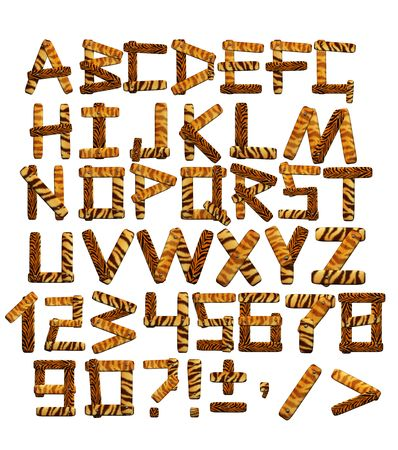 safari cartoon: Alphabet in style of a safari