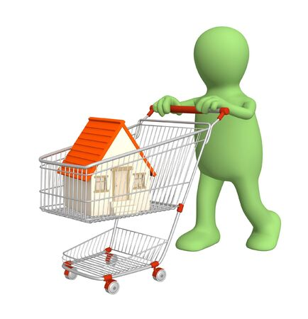 bought: 3d puppet - buyer, bought the house. Over white Stock Photo