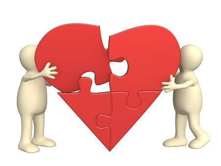 Symbol of love - heart from parts of a puzzle Stock Photo - 5815336