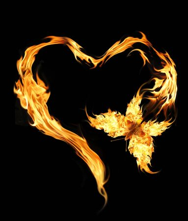 Flying butterfly with burning heart photo