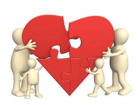 Family love - heart from parts of a puzzle Stock Photo - 5868546