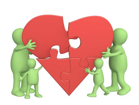 Family love - heart from parts of a puzzle photo