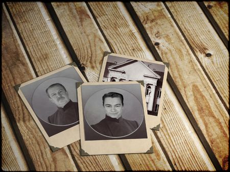 Memories - three old photos on wooden boards photo